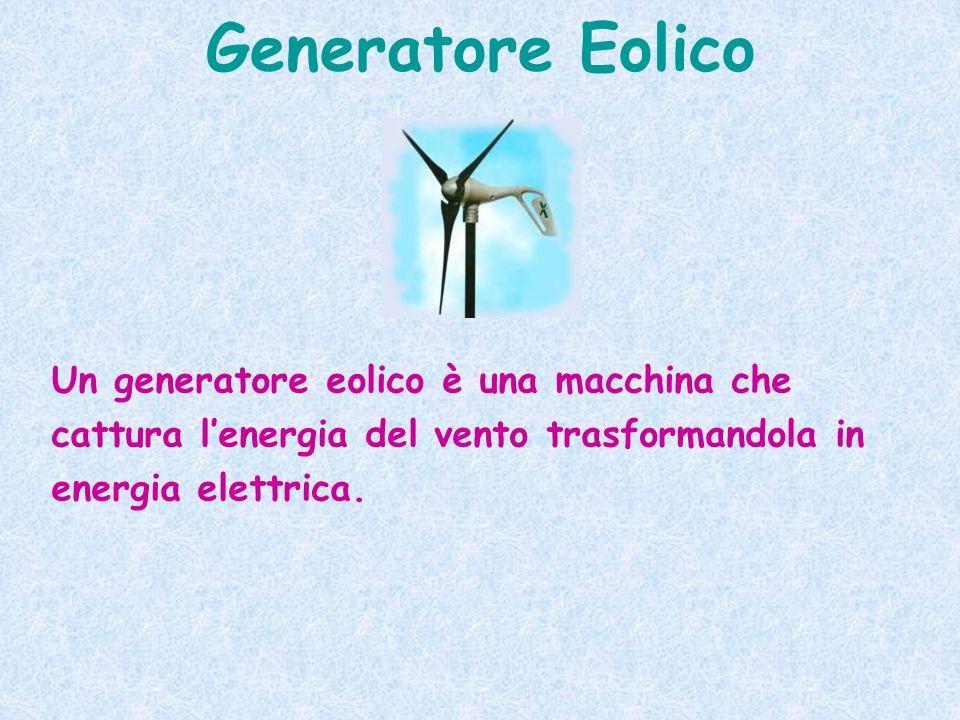 Generatore Eolico Un generatore eolico è una macchina che