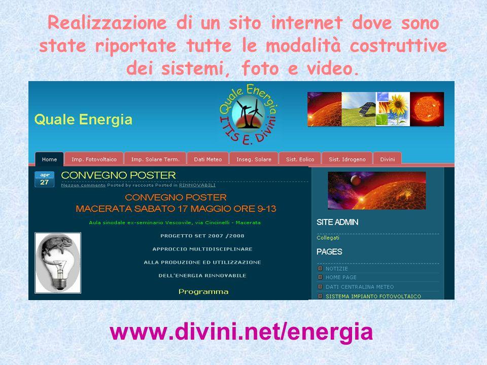 Realizzazione di un sito internet dove sono state riportate tutte le modalità costruttive dei sistemi, foto e video.