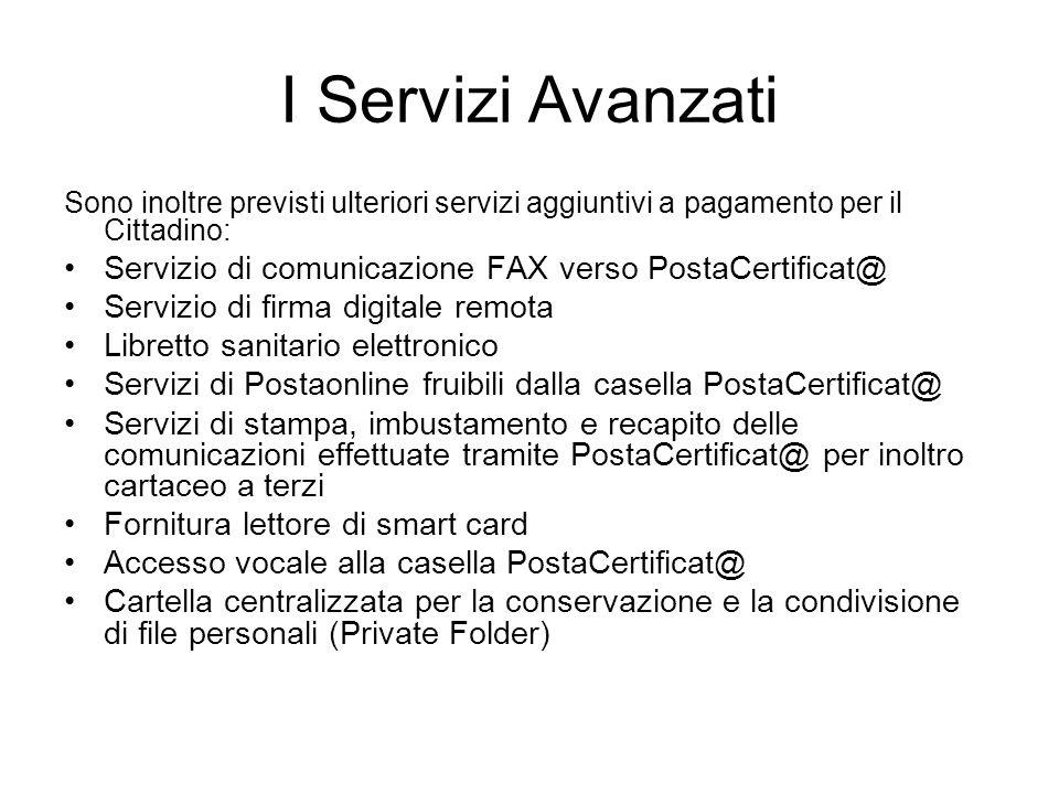 I Servizi Avanzati Sono inoltre previsti ulteriori servizi aggiuntivi a pagamento per il Cittadino: