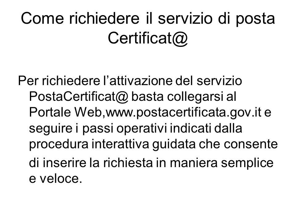 Come richiedere il servizio di posta Certificat@