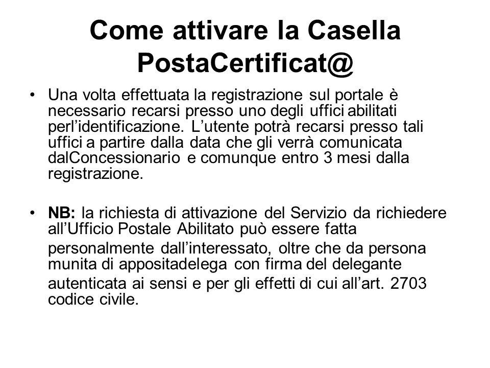 Come attivare la Casella PostaCertificat@