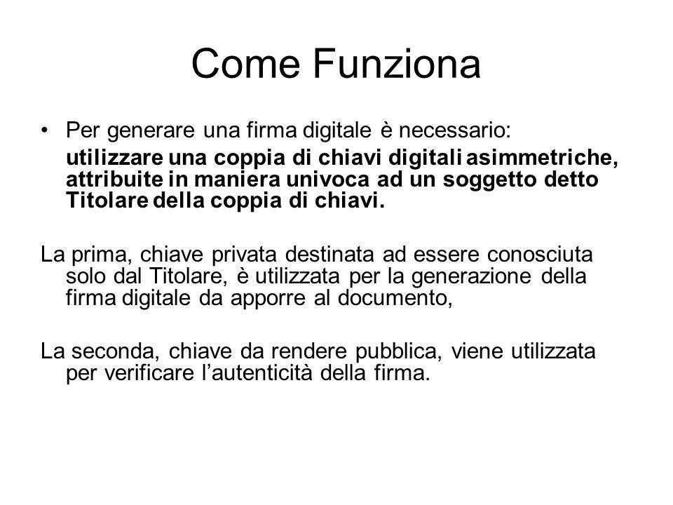 Come Funziona Per generare una firma digitale è necessario:
