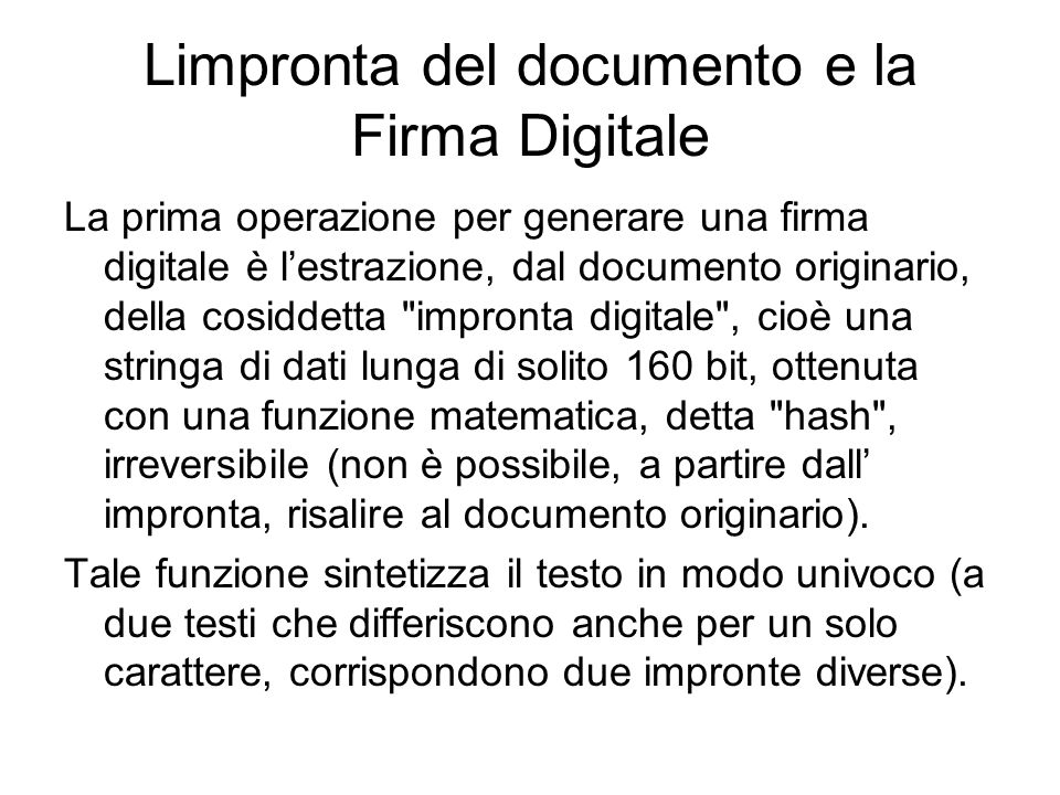 Limpronta del documento e la Firma Digitale
