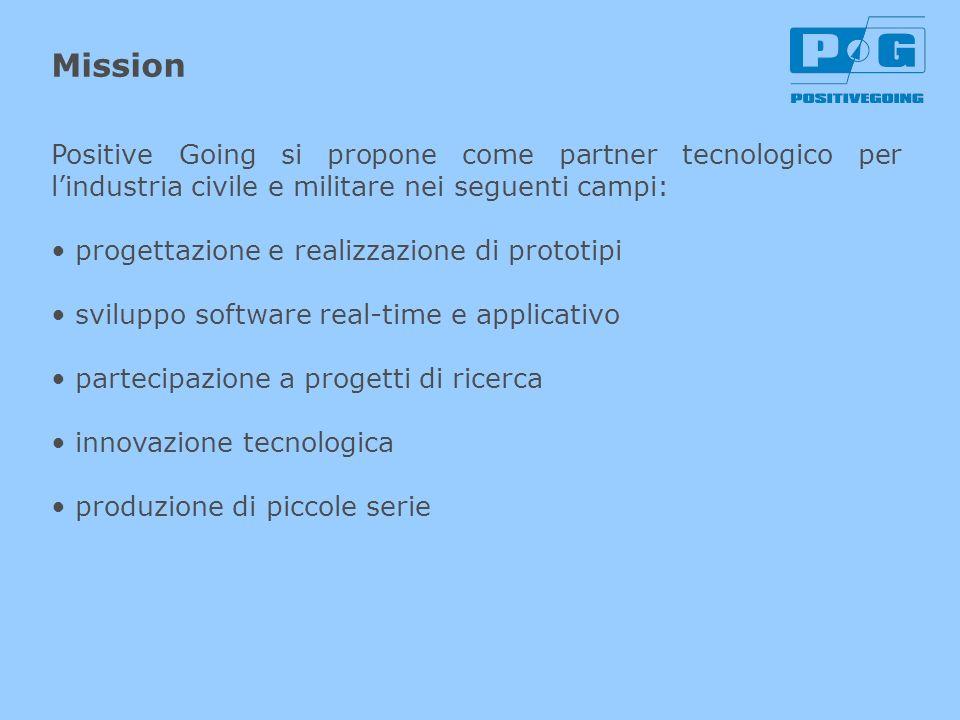 Mission Positive Going si propone come partner tecnologico per l'industria civile e militare nei seguenti campi: