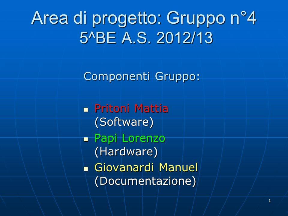 Area di progetto: Gruppo n°4 5^BE A.S. 2012/13