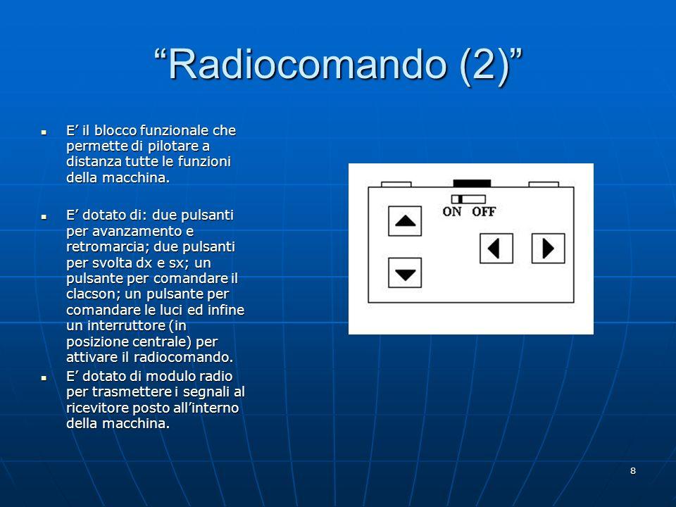 Radiocomando (2) E' il blocco funzionale che permette di pilotare a distanza tutte le funzioni della macchina.