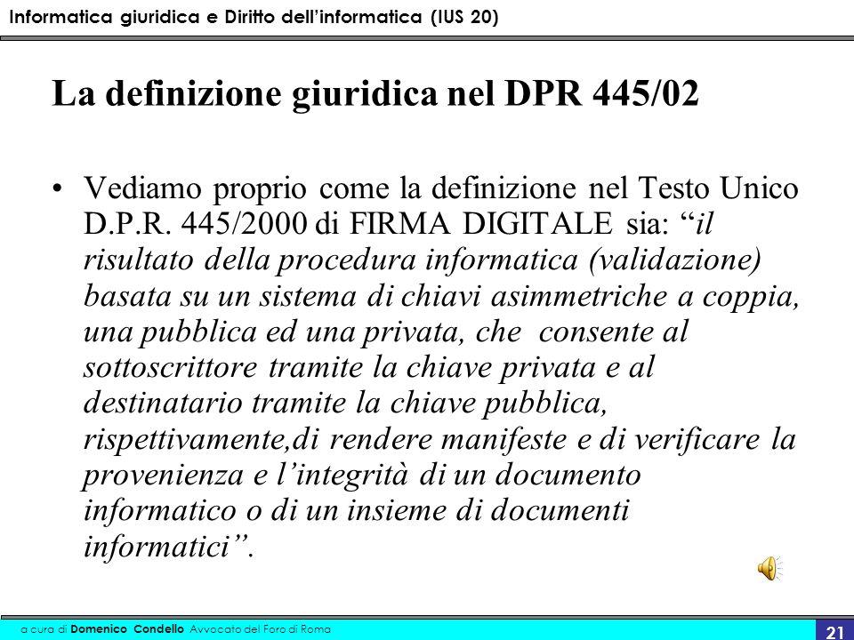 La definizione giuridica nel DPR 445/02