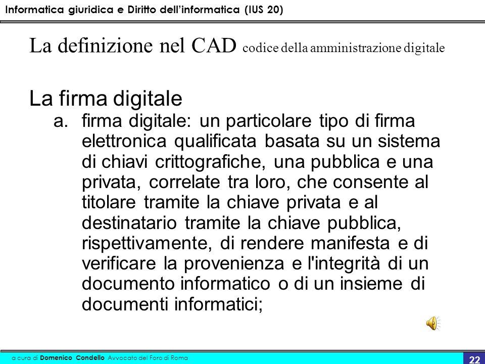La definizione nel CAD codice della amministrazione digitale