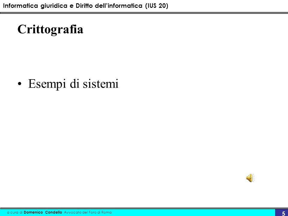 Crittografia Esempi di sistemi