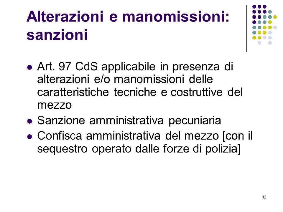 Alterazioni e manomissioni: sanzioni
