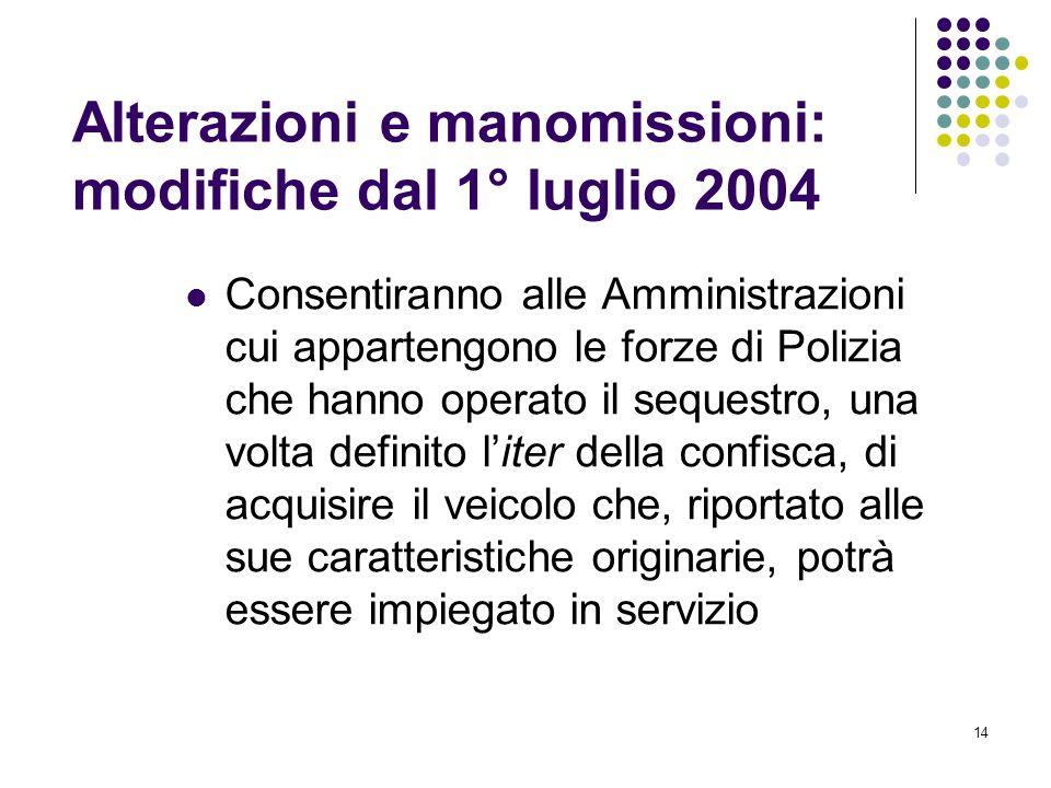 Alterazioni e manomissioni: modifiche dal 1° luglio 2004