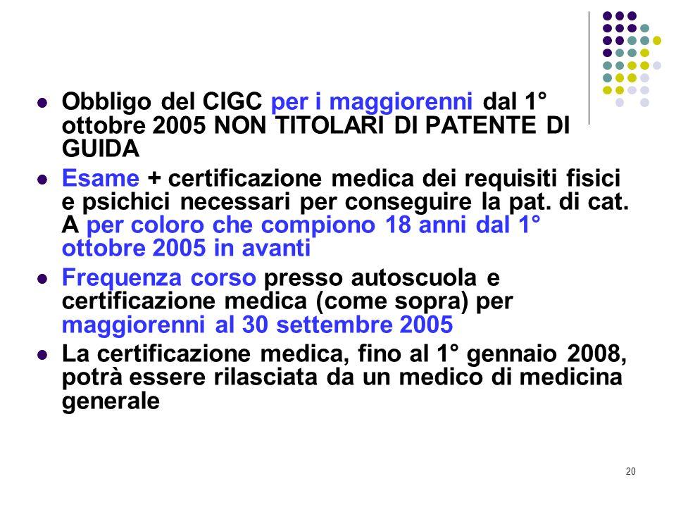 Obbligo del CIGC per i maggiorenni dal 1° ottobre 2005 NON TITOLARI DI PATENTE DI GUIDA