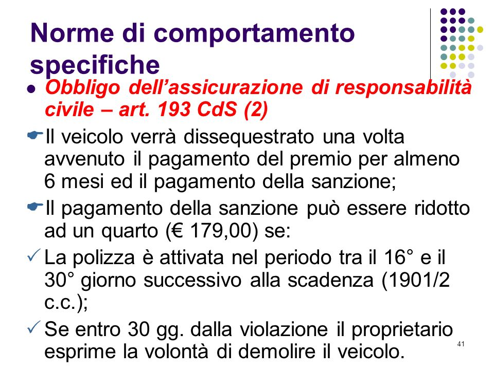 Norme di comportamento specifiche