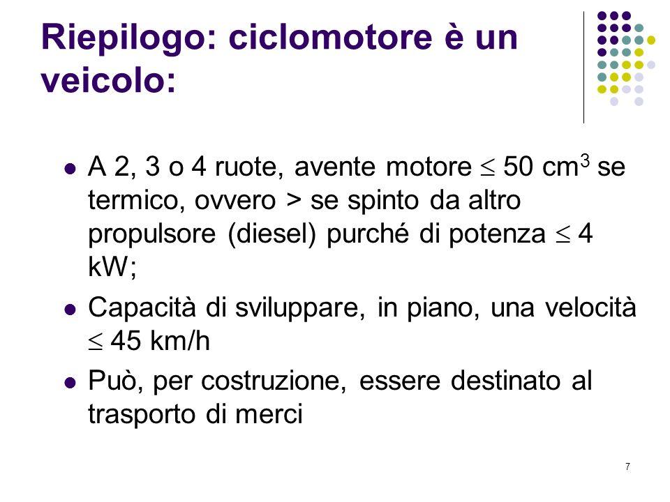 Riepilogo: ciclomotore è un veicolo: