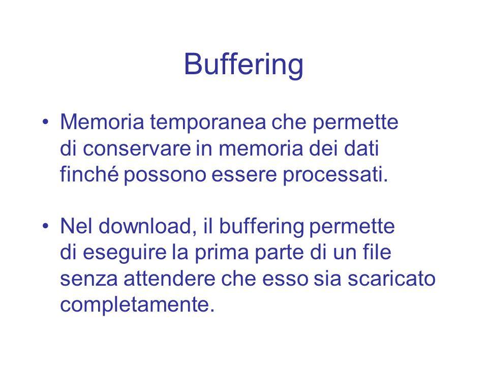 Buffering Memoria temporanea che permette