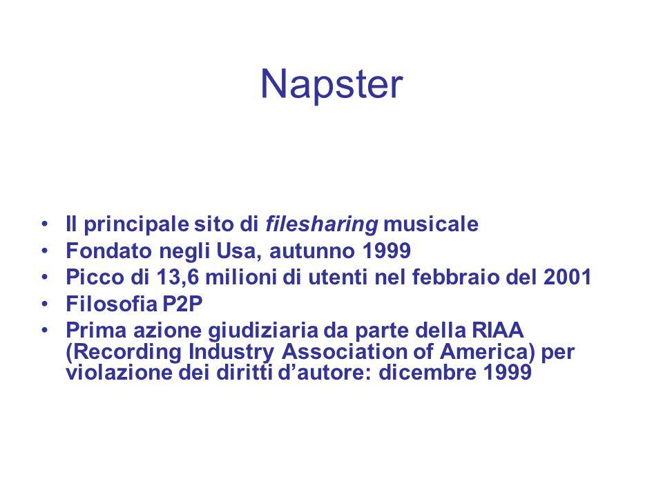Napster Il principale sito di filesharing musicale