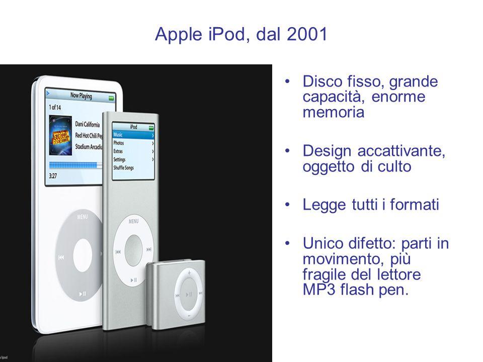 Apple iPod, dal 2001 Disco fisso, grande capacità, enorme memoria