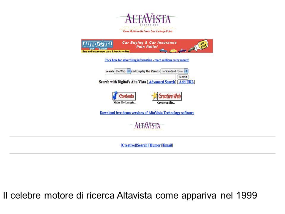 Il celebre motore di ricerca Altavista come appariva nel 1999