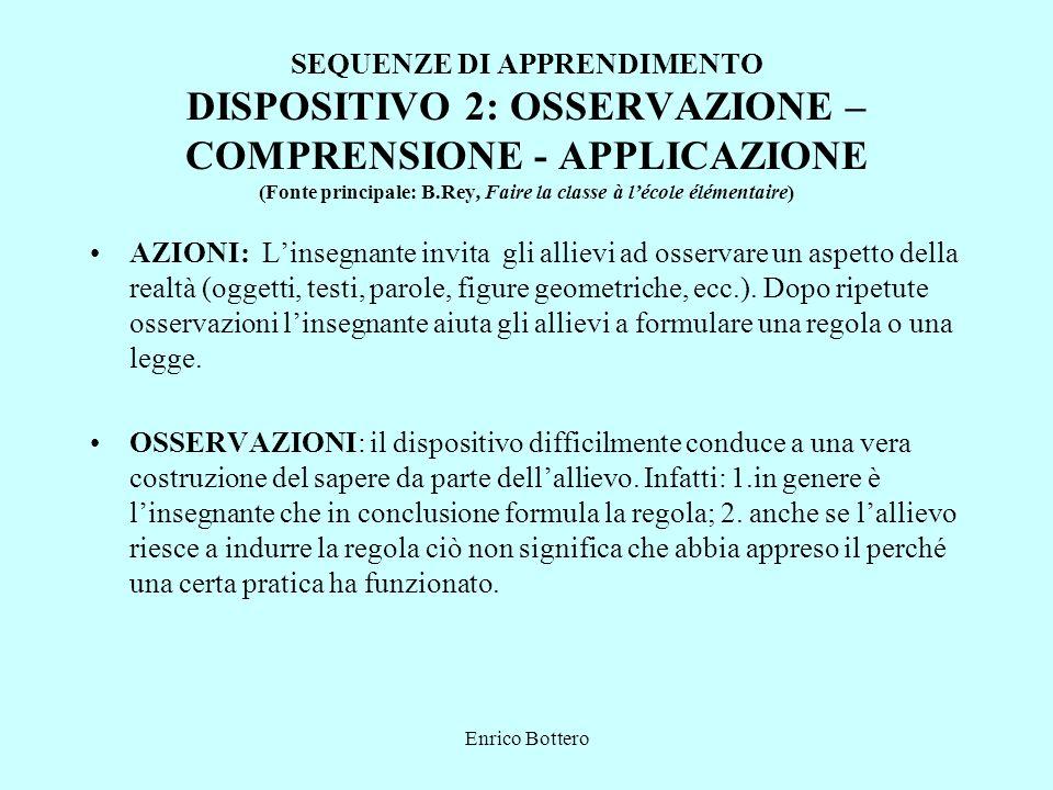 SEQUENZE DI APPRENDIMENTO DISPOSITIVO 2: OSSERVAZIONE – COMPRENSIONE - APPLICAZIONE (Fonte principale: B.Rey, Faire la classe à l'école élémentaire)