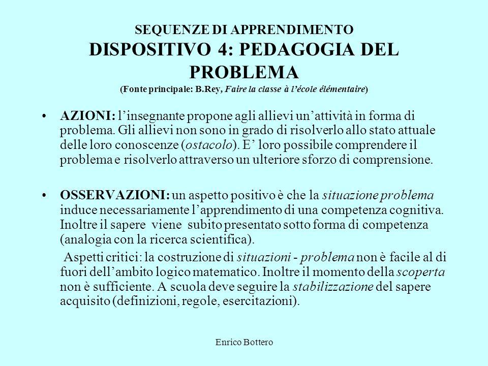 SEQUENZE DI APPRENDIMENTO DISPOSITIVO 4: PEDAGOGIA DEL PROBLEMA (Fonte principale: B.Rey, Faire la classe à l'école élémentaire)