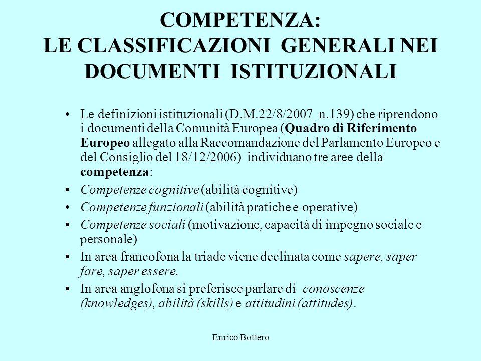 COMPETENZA: LE CLASSIFICAZIONI GENERALI NEI DOCUMENTI ISTITUZIONALI