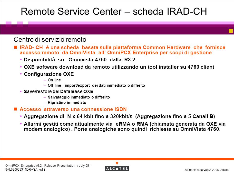 Remote Service Center – scheda IRAD-CH