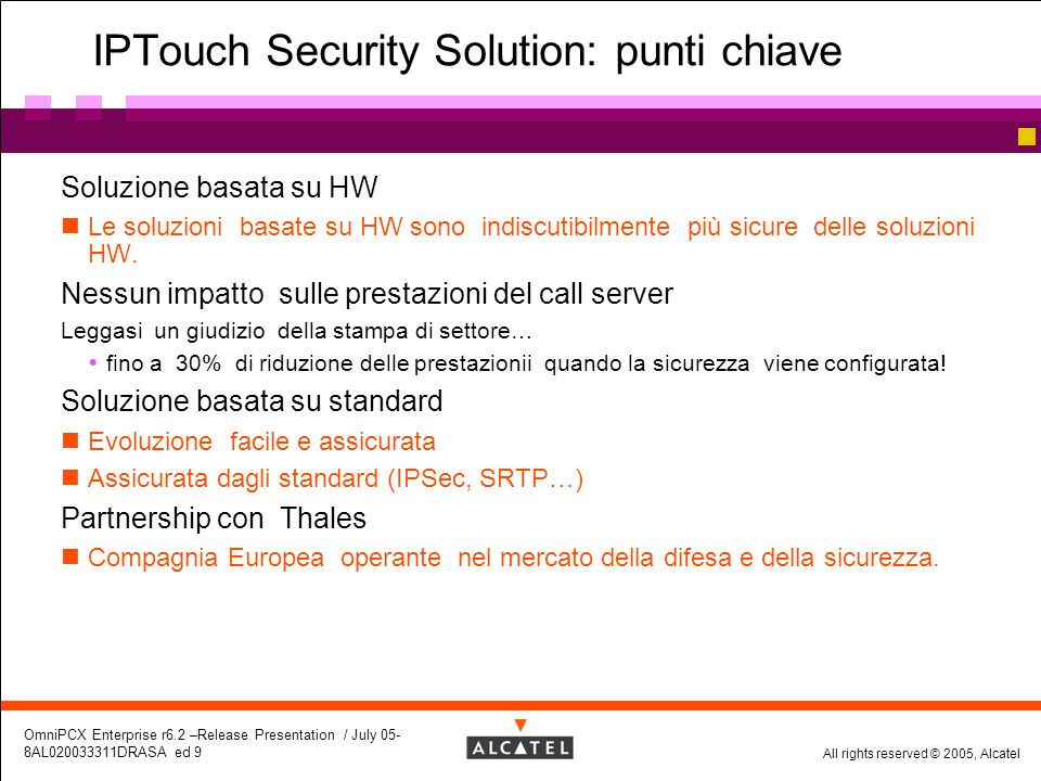 IPTouch Security Solution: punti chiave
