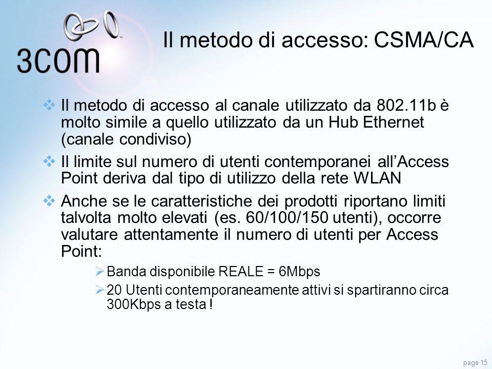 Il metodo di accesso: CSMA/CA