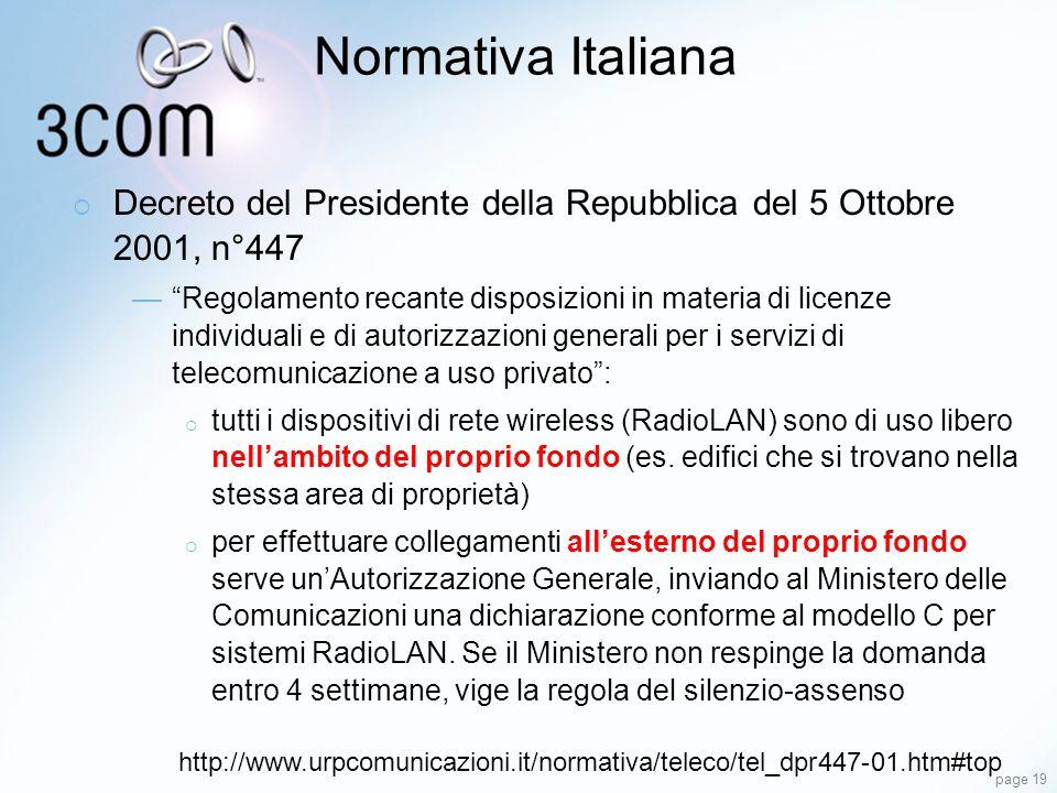 Normativa Italiana Decreto del Presidente della Repubblica del 5 Ottobre 2001, n°447.