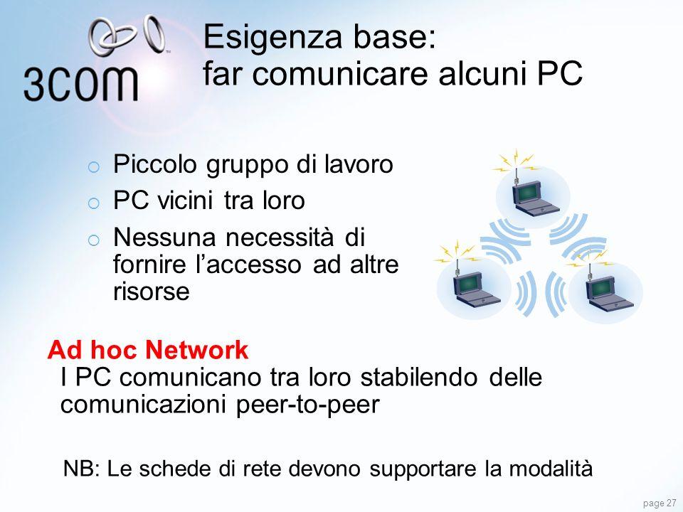Esigenza base: far comunicare alcuni PC