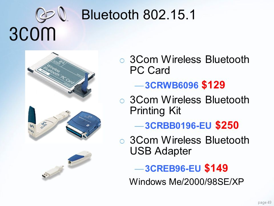Bluetooth 802.15.1 3Com Wireless Bluetooth PC Card