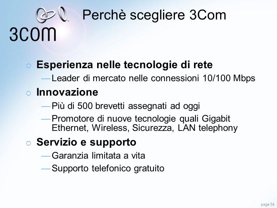Perchè scegliere 3Com Esperienza nelle tecnologie di rete Innovazione