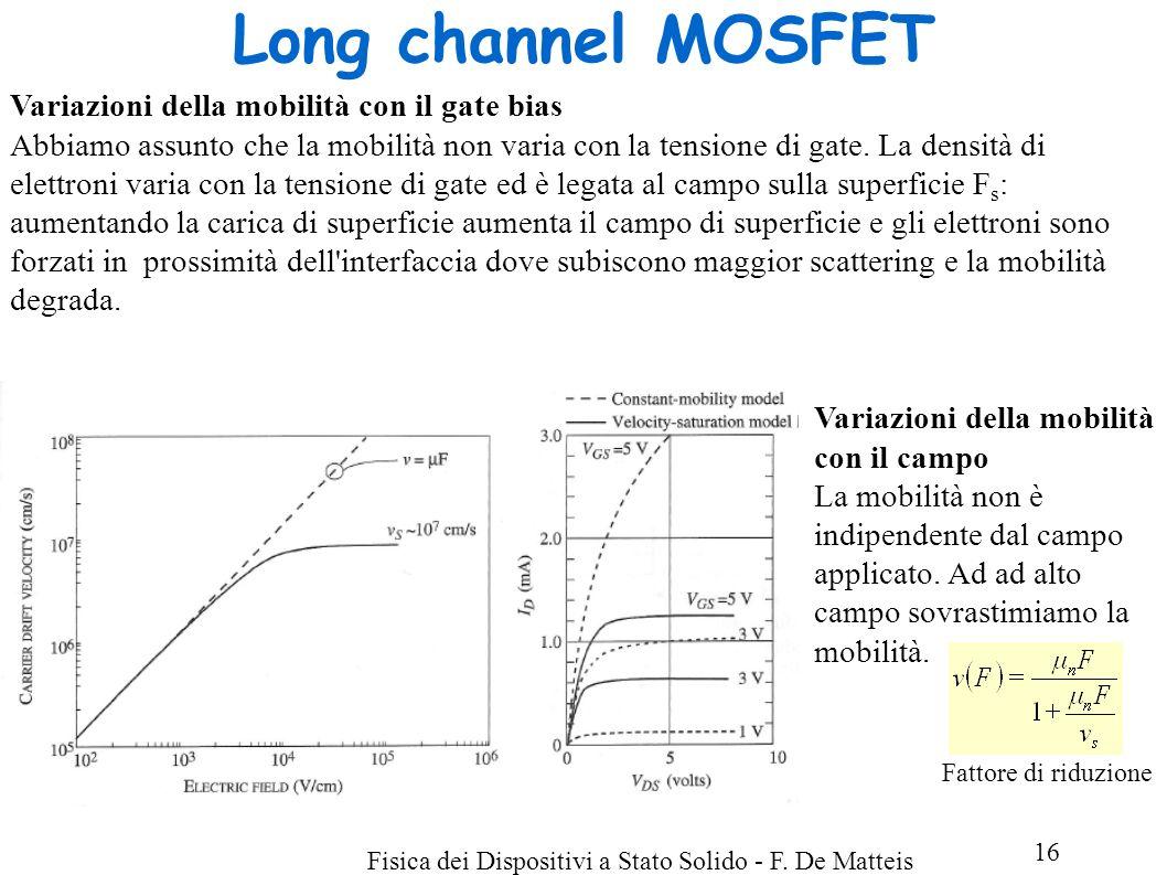 Long channel MOSFET Variazioni della mobilità con il gate bias