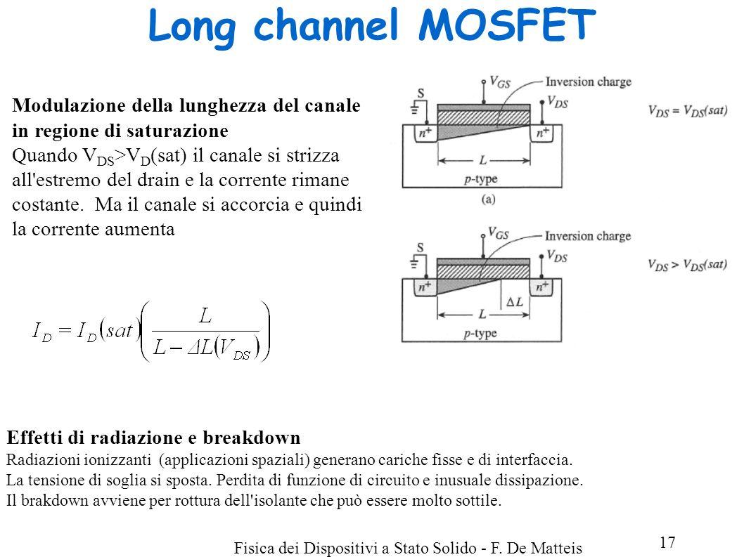 Long channel MOSFET Modulazione della lunghezza del canale in regione di saturazione.
