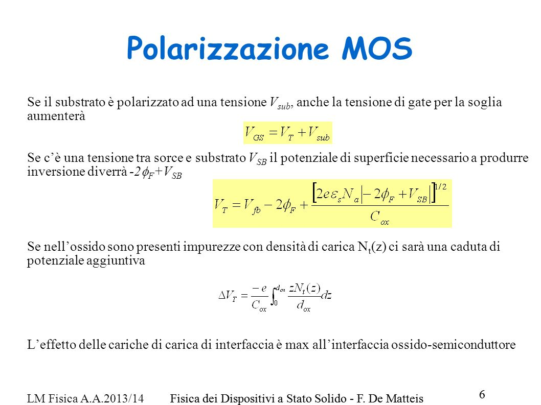Polarizzazione MOS Se il substrato è polarizzato ad una tensione Vsub, anche la tensione di gate per la soglia aumenterà.
