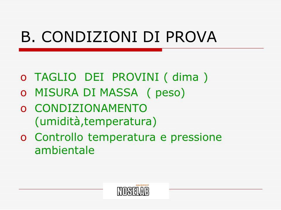 B. CONDIZIONI DI PROVA TAGLIO DEI PROVINI ( dima )