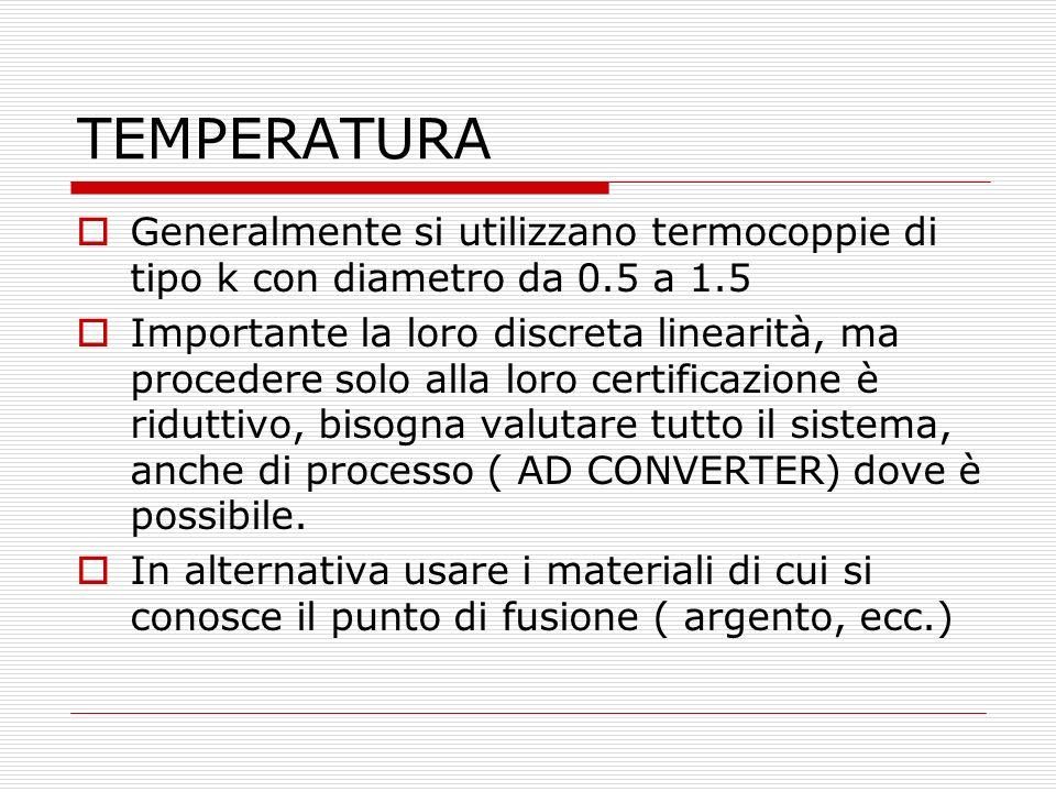TEMPERATURA Generalmente si utilizzano termocoppie di tipo k con diametro da 0.5 a 1.5.