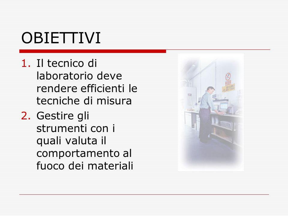 OBIETTIVI Il tecnico di laboratorio deve rendere efficienti le tecniche di misura.