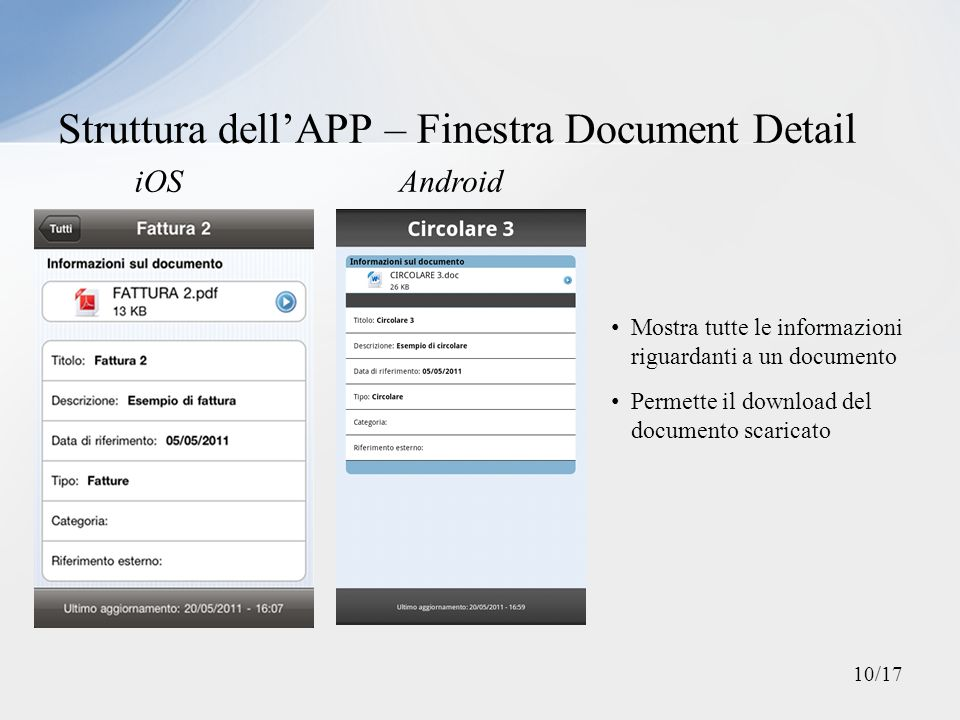 Struttura dell'APP – Finestra Document Detail