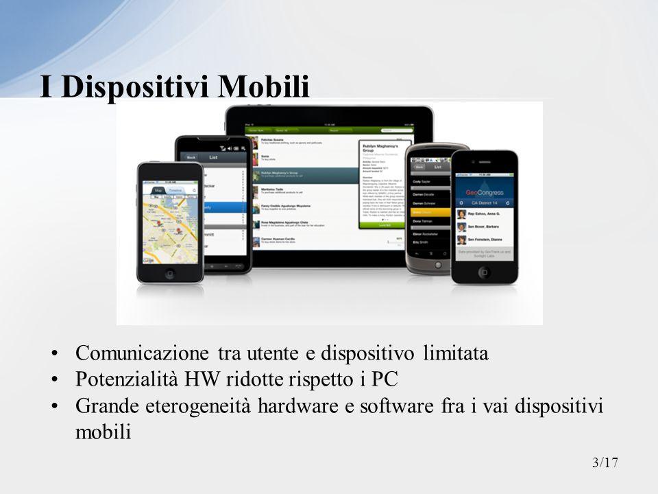 I Dispositivi Mobili Comunicazione tra utente e dispositivo limitata