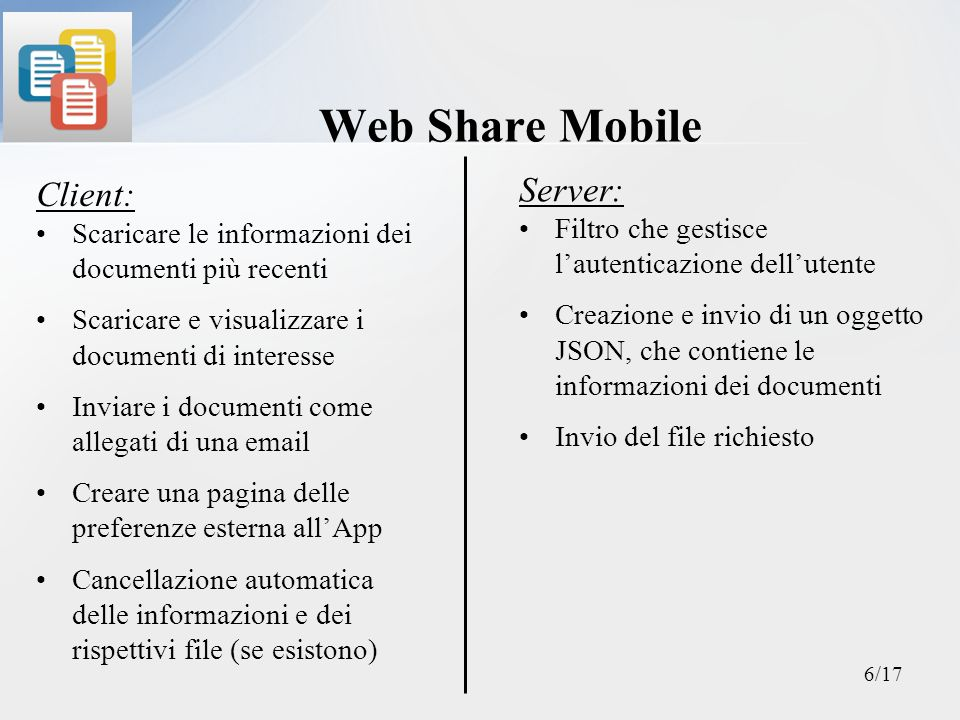 Web Share Mobile Server: Client: