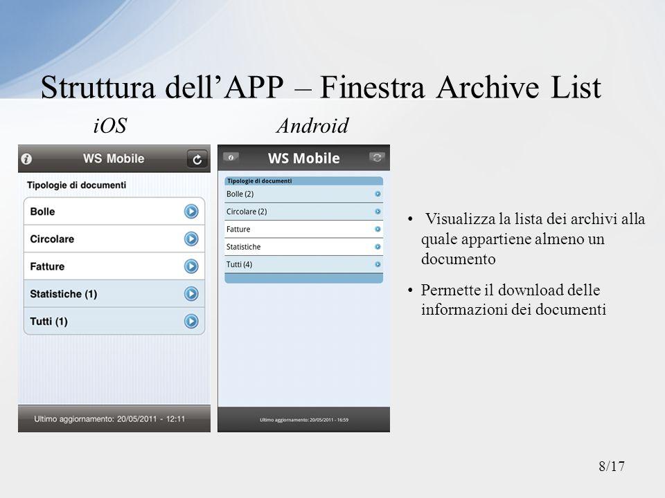 Struttura dell'APP – Finestra Archive List