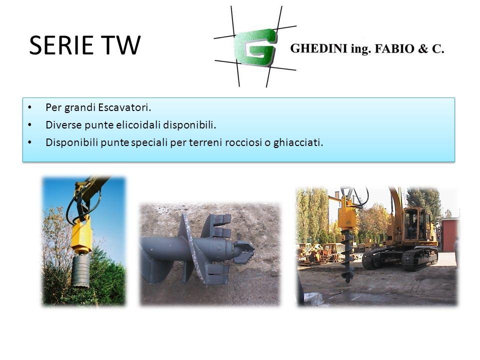 SERIE TW Per grandi Escavatori. Diverse punte elicoidali disponibili.