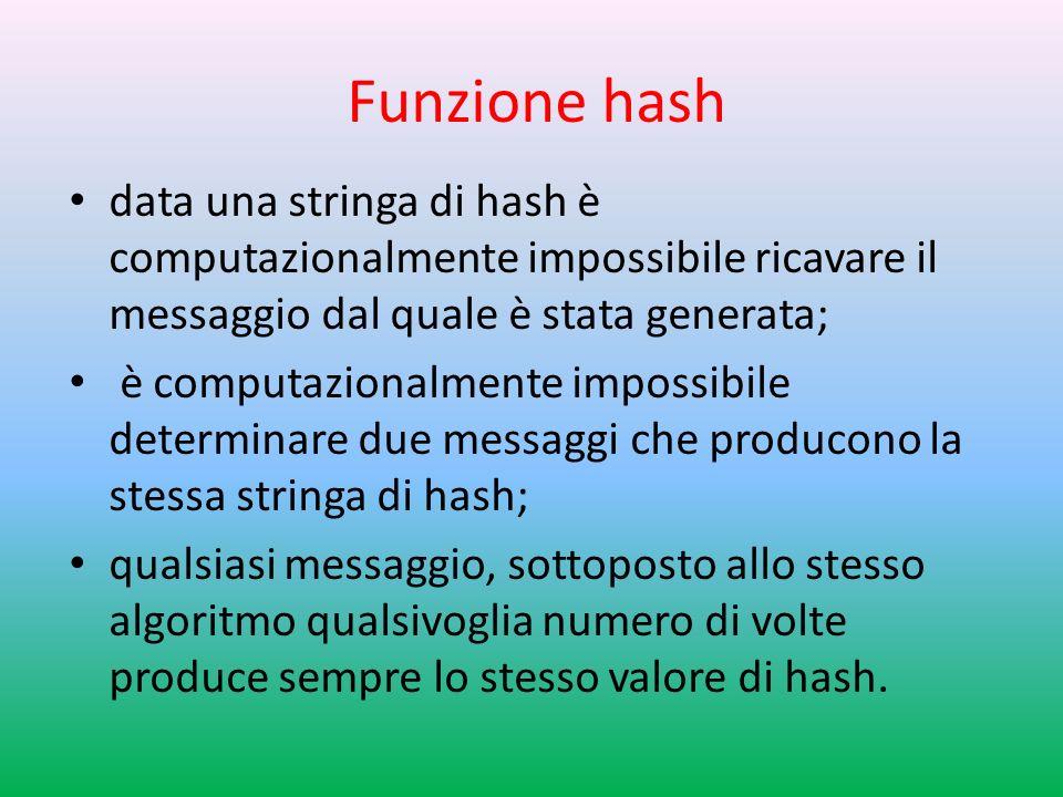 Funzione hash data una stringa di hash è computazionalmente impossibile ricavare il messaggio dal quale è stata generata;