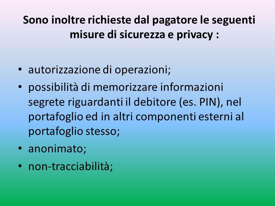 Sono inoltre richieste dal pagatore le seguenti misure di sicurezza e privacy :