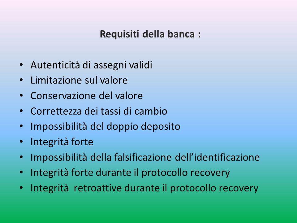 Requisiti della banca :