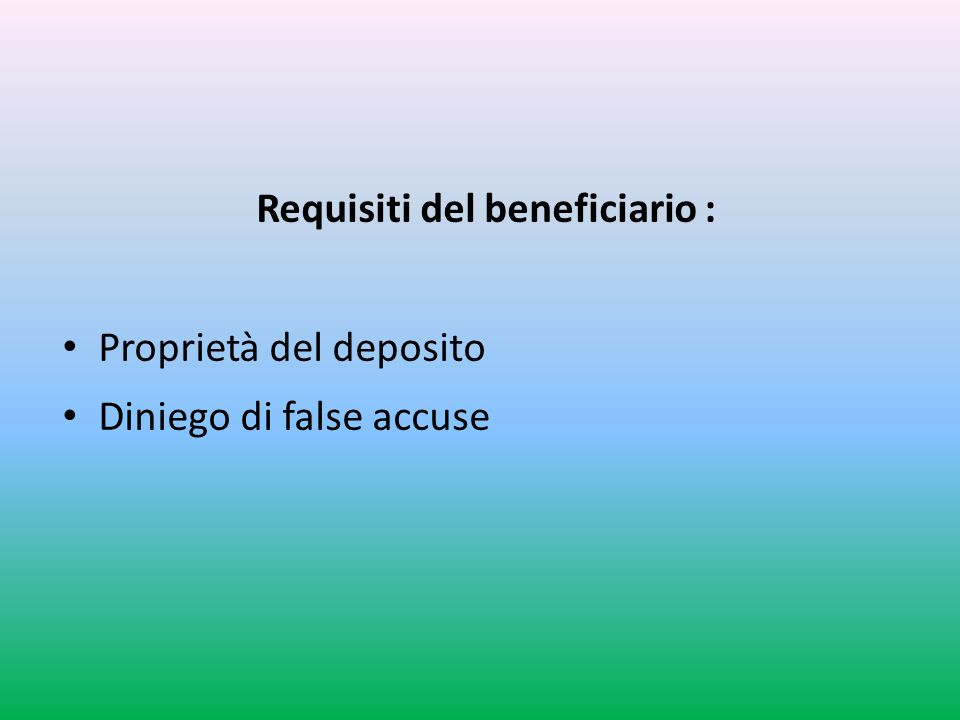 Requisiti del beneficiario :