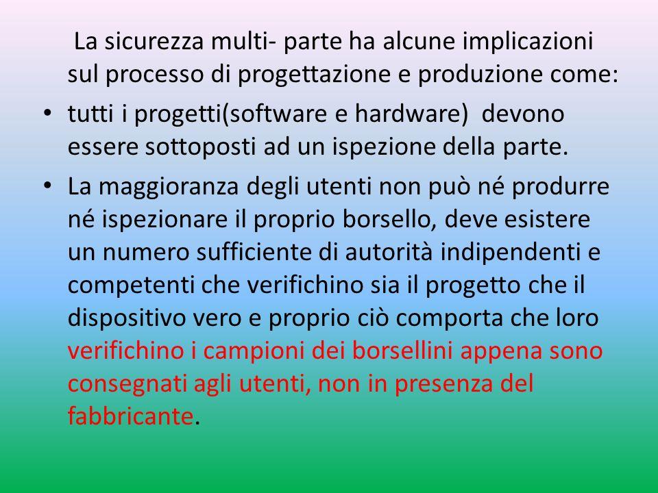 La sicurezza multi- parte ha alcune implicazioni sul processo di progettazione e produzione come: