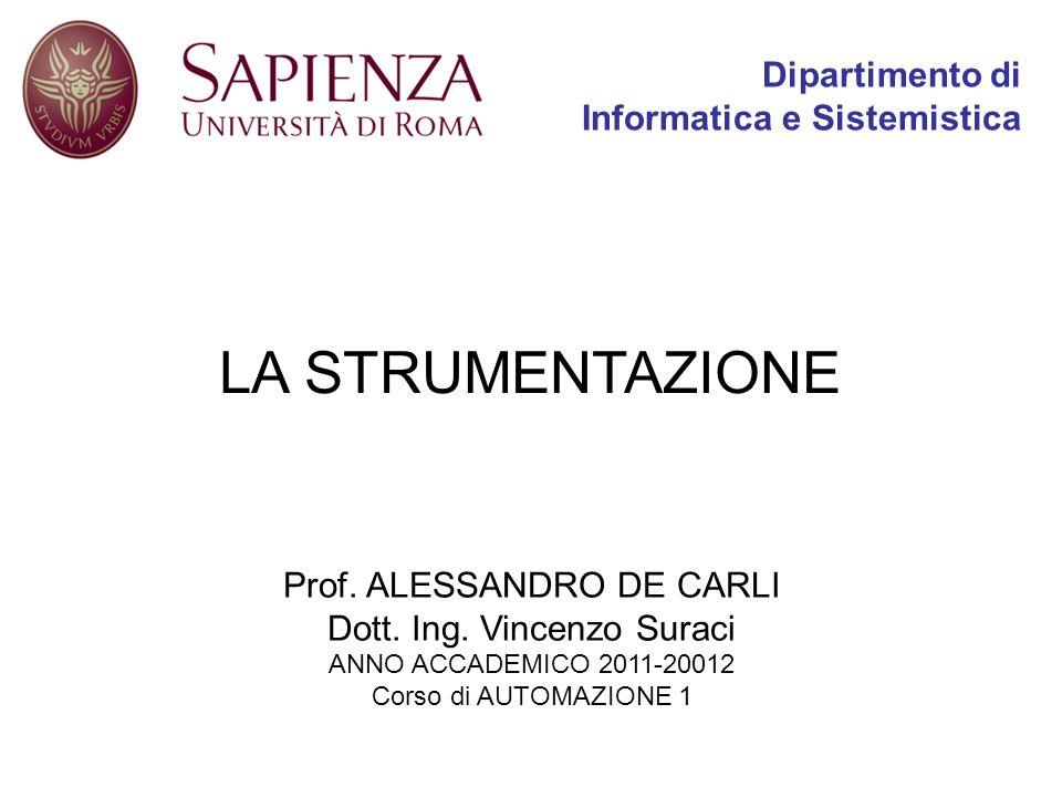 LA STRUMENTAZIONE Dipartimento di Informatica e Sistemistica