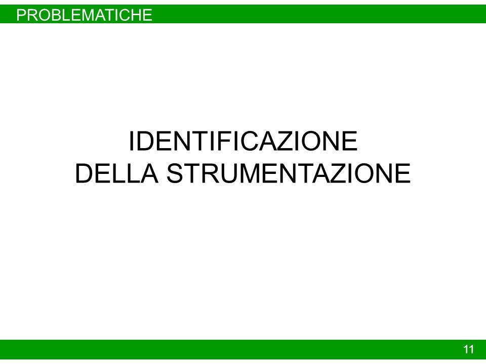 PROBLEMATICHE IDENTIFICAZIONE DELLA STRUMENTAZIONE 11